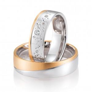 Moderne Eheringe, die Sie personalisieren können! Eheringe nach Mass... Aus weissem Gold mit Diamanten.  in matter und glänzender Linie zweifarbiges Gold - Rotes und Weisses Gold mit Himmel von Diamanten