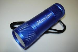 Lampe de poche miniature (LED) puissante avec marquage laser