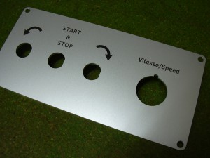 Schalter aus Plastik graviert mit der Funktion der verschiedenen Positionen