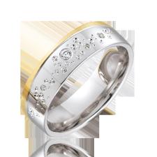 Moderne Eheringe, die Sie personalisieren können! Eheringe nach Mass... Aus weissem Gold mit Diamanten.  in matter und glänzender Linie zweifarbiges Gold - Gelbes und Weisses Gold mit Himmel von Diamanten
