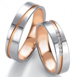 Moderne Eheringe, die Sie personalisieren können! Eheringe nach Mass... Aus weissem Gold mit Diamanten.  in matter und glänzender Linie zweifarbiges Gold - Rotes und Weisses Gold mit Linie von Diamanten