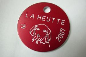 Médailles anuelles en aluminium pour la taxe de chien marquées au laser.